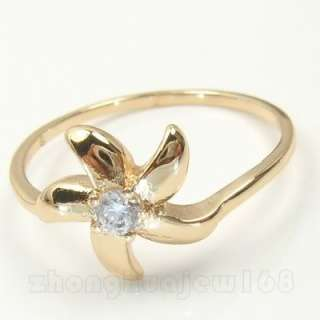 LADYS LILY SAPPHIRE CZ IN 10KT REAL YELLOW GOLD FILLED PRINCESS RING