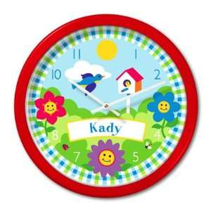 Olive Kids Happy Flowers Personalized Red Clock Home & Kitchen