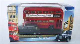 NEW OXFORD DIECAST 1/76 RED LONDON BUS & FX4 BLACK TAXI CAB BOXED GIFT