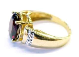 0ctw Red Garnet Solitaire / Diamond 14KT Solid Yellow Gold Fashion