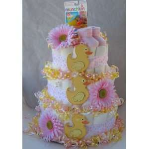 Lucky Duck 3 Tier Diaper Cakes (Pink)