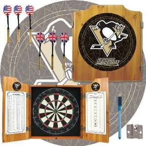 NHL Pittsburgh Penguins Dart Cabinet includes Darts and