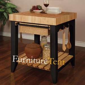 Color Story Black Butcher Block Kitchen Island,Wood,Storage,Kitchen