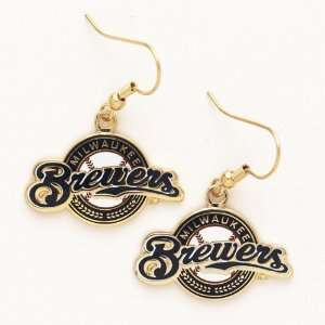 Milwaukee Brewers Logo Dangle Earrings (Gold tone): Sports