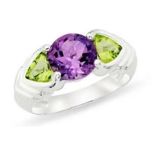 3 1/3 Carat Amethyst & Peridot Sterling Silver Ring Jewelry