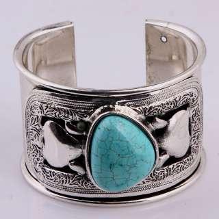 Vintage Map Howlite Blue Turquoise Heart Bead Wide Cuff Bracelet Tibet