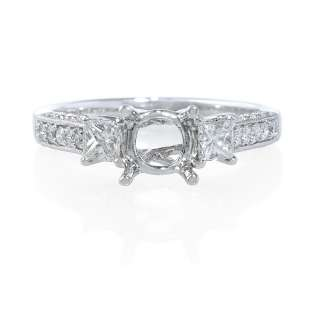 18K WHITE GOLD DIAMOND ANTIQUE STYLE ENGAGEMENT RING SETTING