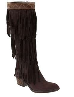 NEW Donald Pliner Denise Espresso Brown Suede Fringe Knee High Boots