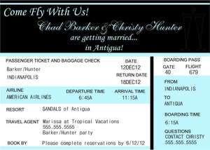 Destination Wedding Travel Plane Ticket Girls Weekend Invitation