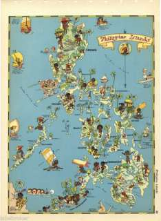 RUTH TAYLOR VINTAGE MAP CARTOON PHILIPPINE ISLANDS RARE