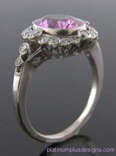 PINK SAPPHIRE AND DIAMOND ANTIQUE STYLE HAND MADE RING