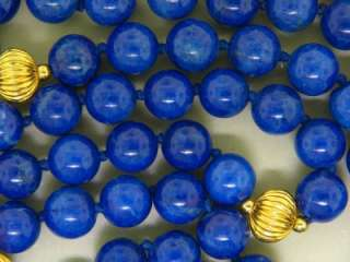 NATURAL BLUE LAPIS BEAD GOLD FILLED HAND CRAFTED VINTAGE NECKLACE   98