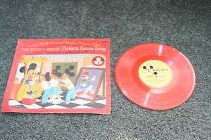 Mickey Mouse Club HOUSE Disney Record @1950 RED VINYL