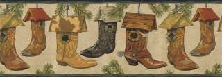 COWBOY BOOTS,PINE,BIRDHOUSES Wallpaper Border EL49045B