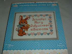 NIP Bunny Rabbit Baby Birth Sampler Cross Stitch Kit