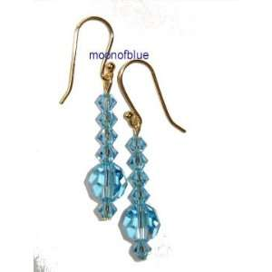 Dangle Swarovski Crystal Blue Earrings   14K Gold Plated