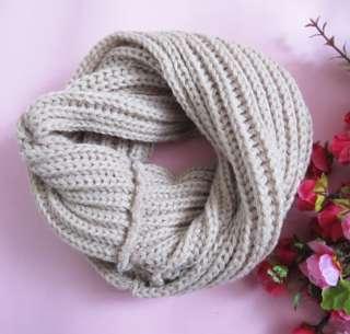 Women Knited Hood Neck Circle Cowl Wool Scarf Shawl Wrap Loop Winter