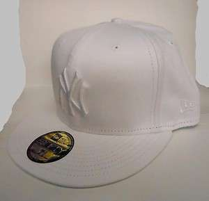 New Era 5950 New York Yankees   NY   WHITE on WHITE   MLB Baseball Cap
