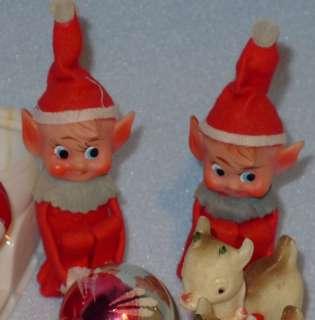 Christmas Ornaments,Hard Plastic Santas,Snowmen,Reindeer & Pixies