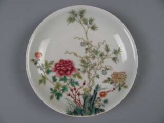 FINE CHINESE 18th FAMILLE ROSE PORCELAIN FLOWERS PLATE