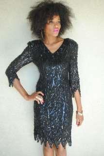 vintage black silk beaded sequin mini dress