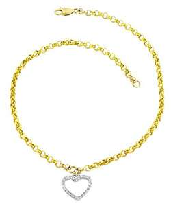 14k Gold Diamond Accent Heart Charm Anklet