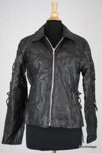 Buffalo Leather Snake Print Motorcycle Racing Jacket Medium Rose