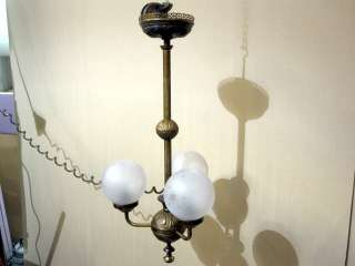 Antique Brass & Frosted Etched Glass Lamp Ceiling Light w Cord Unique
