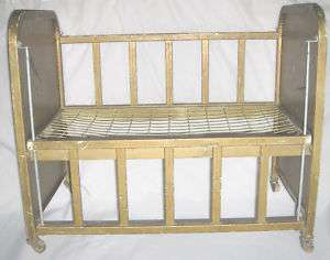 Antique 1950s Metal 25 Doll Bed Adjustable Side Rail