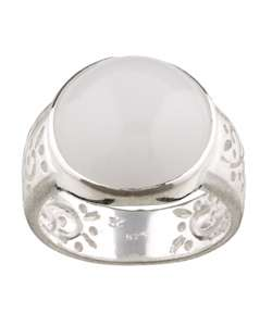Sterling Silver White Agate Filigree Ring