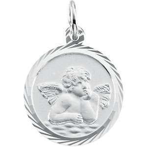 14K White or Yellow Gold Guardian Angel Pendant 14m Nw
