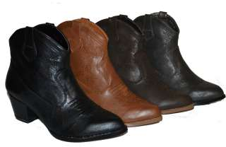 Womens Ankle High Cowboy Boots in 4 Colors, Black, D. Brown, L. Brown