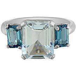 10k Gold Aquamarine and Blue Topaz 3 stone Ring