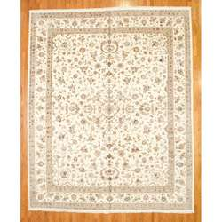 Asian Hand knotted Ivory Tabriz Rug (12 x 15)