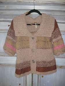 Free People earth tone heavy wool blend cardigan size M