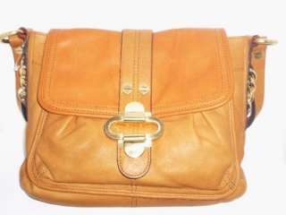 MAKOWSKY Tan Camel Caramel Chain Leather Satchel Shoulder Bag