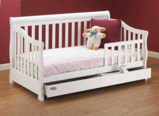 New Orbelle Wooden Toddler Bed w/ Storage Drawer   White Finish