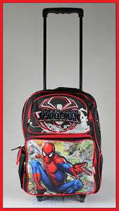 16 Spiderman Rolling Backpack Roller/Bag/Wheeled/Boys