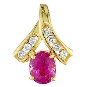 Pink sapphire and white diamond gold pendant Vanna Weinberg Jewelry