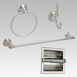 Satin / Brushed Nickel 24 Towel Bar Accessory 4 PC Set W/ Recessed T