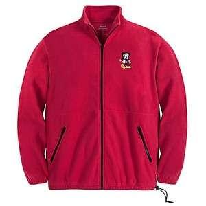 NEW Disney Holiday Santa Mickey Mouse Adult Fleece Zip Up Jacket Sz M