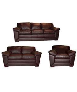 Soft Chocolate Leather Sofa, Loveseat, & Chair