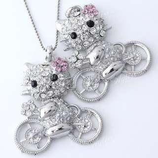 Silver Plated Crystal Glass Kitty & Bike Bead Pendant