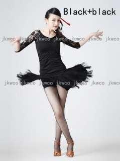 latin salsa tango chacha ballroom dance dress top + skirt tassel dance
