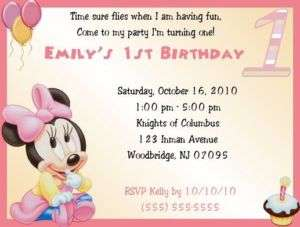 Baby Minnie 1st Birthday Invitations/Birthday Supplies