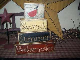 PRIMITIVE BLOCK SIGN~~SWEET SUMMER WATERMELON~~CROW~~