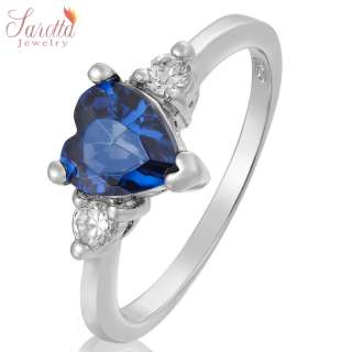 Jewelry Heart Cut Blue Sapphire Fine Clear Topaz Ring SIZE M/6
