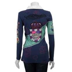 Womens Crown Long sleeve Rhinestone Rugby Shirt