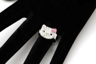 HELLO KITTY FACE OUTLINE NECKLACE PENDENT WITH PINK BOW
