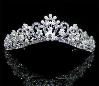 Wedding/Bridal crystal veil tiara crown headband CR192
